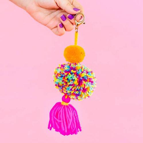 Orange/Pink Pom + Tassel Keychain by Taylor Elliott Designs
