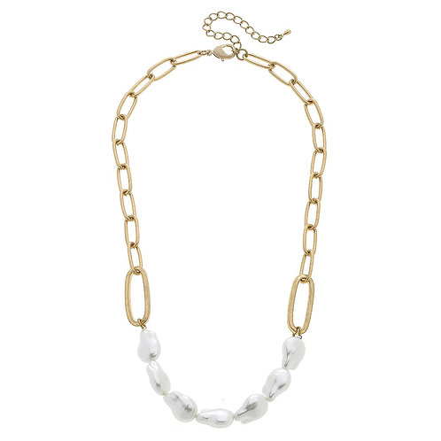 Keira Chunky Pearl & Linked Paperclip Chain Necklace in Worn Gold
