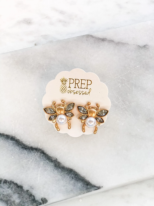 Gold Pearl Bee Studs by Prep Obsessed