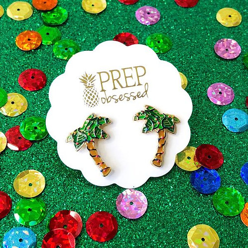 Holiday Palm Tree Enamel Studs by Prep Obsessed
