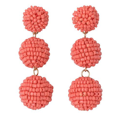 Seed Bead Ball Drop Earrings Coral