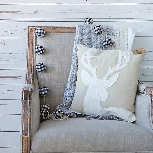 Deer Head Canvas Pillow Cover