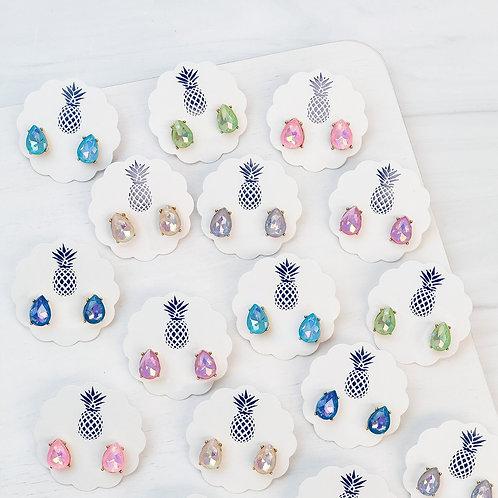 Jewel Pear Stud Earrings by Prep Obsessed