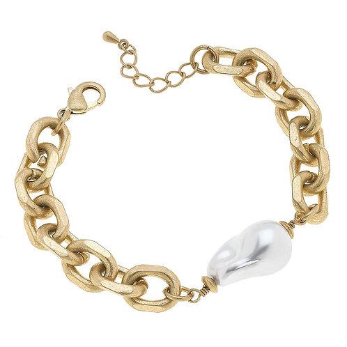 Sofia Chunky Chain Baroque Pearl Bracelet in Worn Gold