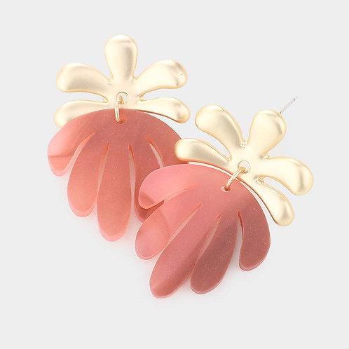 Coral Acetate Tropical Leaf Earrings