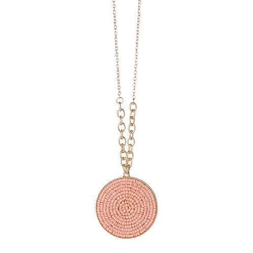 Seed Bead Circle Necklace Blush