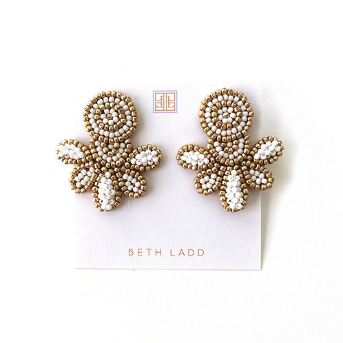 Love Studs in Gold/White by Beth Ladd