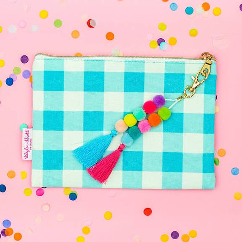 Blue Gingham Pouch with Keychain by Taylor Elliott Designs