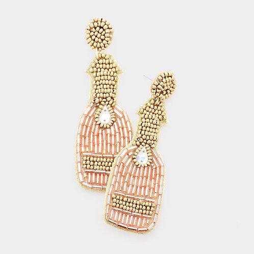 Pink Champagne Bottle Earrings