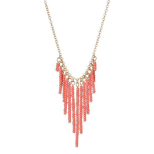 Seed Bead V-Drop Necklace Coral