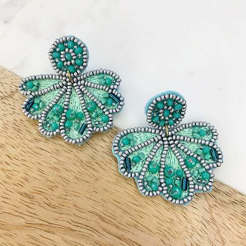 Clam Shell Beaded Statement Earrings in Turquoise by Prep Obsessed