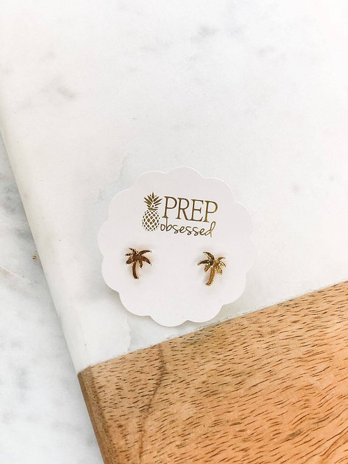Dainty Palm Tree Studs by Prep Obsessed