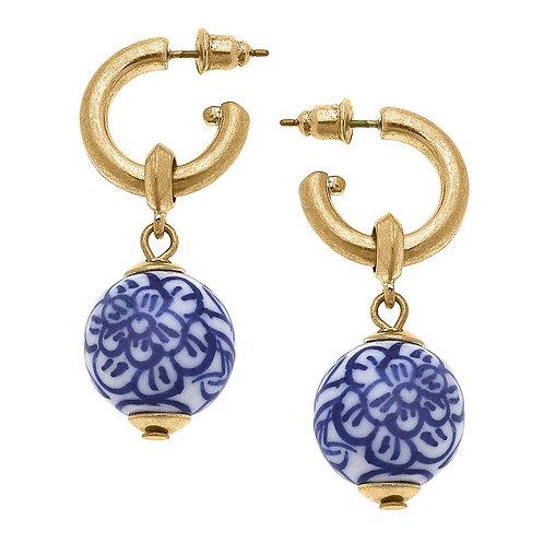 Chelsea Chinoiserie Drop Hoop Earrings in Blue & White
