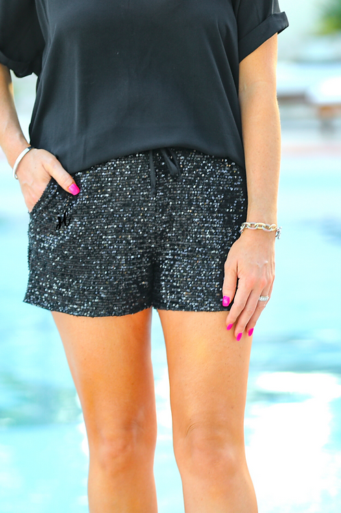 VIP Status Sequin Drawstring Shorts in Black