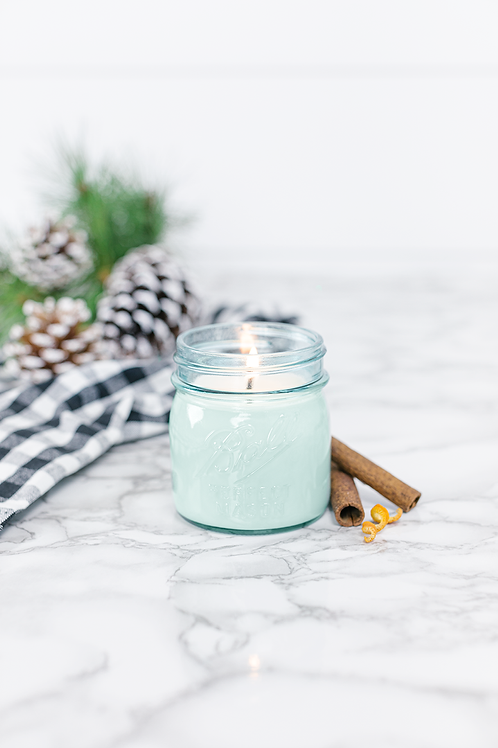 Good Tidings 8 oz blue jar candle by Antique Candle Co.