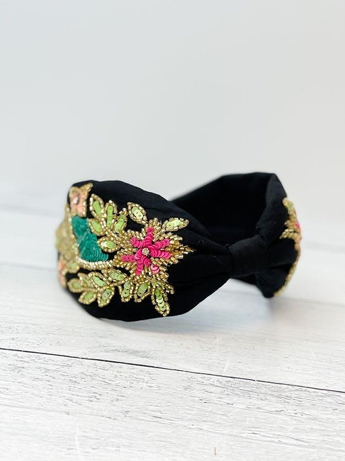 Black Floral Embellished Fabric Headband by Prep Obsessed