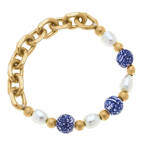 Loraine Chinoiserie & Pearl Chunky Chain Bracelet in Blue & White