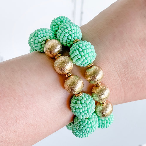 Seed Bead Ball Stretch Bracelet Mint