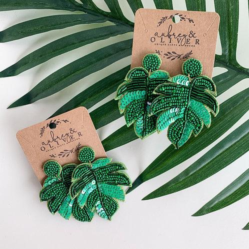 Palm Leaf Dangle Earrings in Green