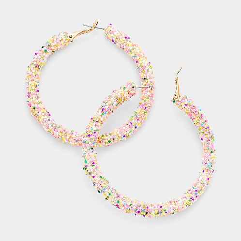 Glitter Hoops in Light Confetti