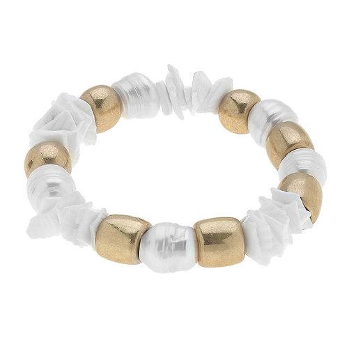 Elle Chunky Freshwater Pearl Stretch Bracelet in Ivory