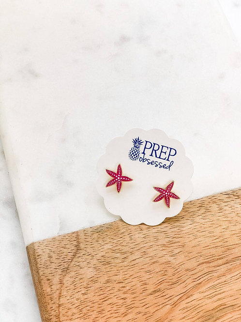 Pink Starfish Enamel Stud Earrings by Prep Obsessed