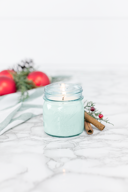 Christmas Day 8 oz. blue jar candle by Antique Candle Co.