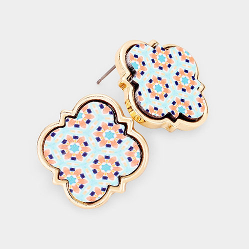 Moroccan Pattern Wood Quatrefoil Studs in Blue/Coral