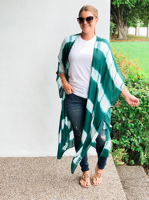 Teal Tie Dyed Kimono by Prep Obsessed