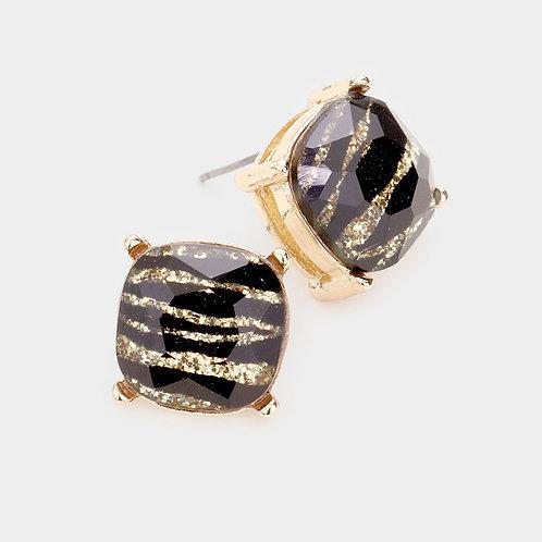Gold Glitter Zebra Stud Earrings