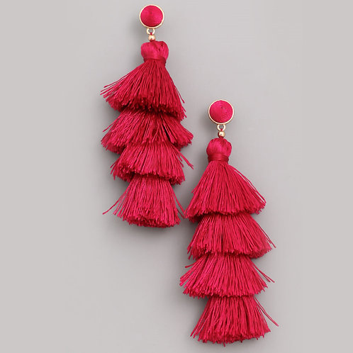 Layered Tassel Earrings Raspberry