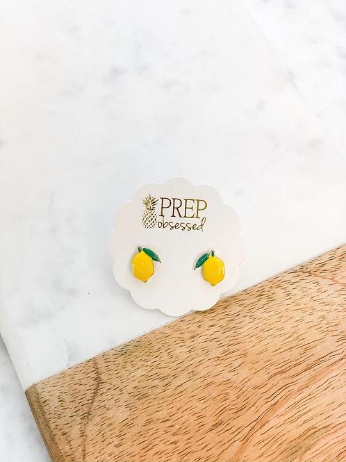 Lemon Enamel Studs by Prep Obsessed