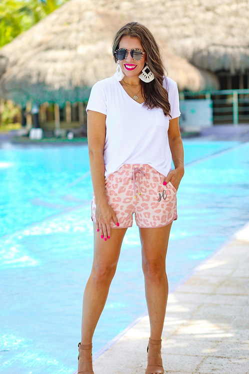 Attracting Attention Leopard Drawstring Everyday Shorts