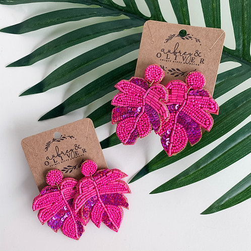 Palm Leaf Dangle Earrings in Pink