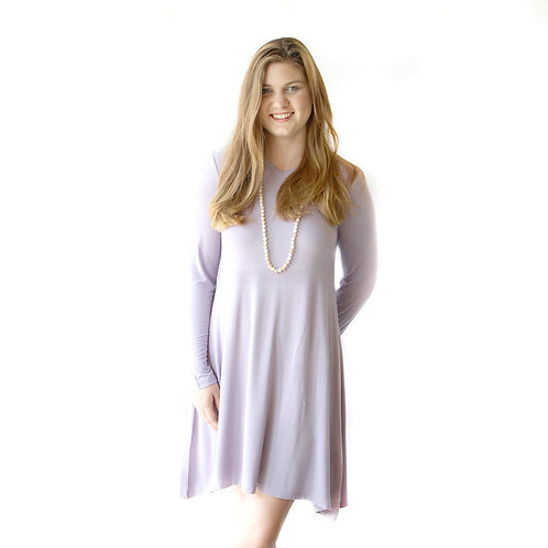 V-Neck Long Sleeve Swing Dress in Dusty Plum