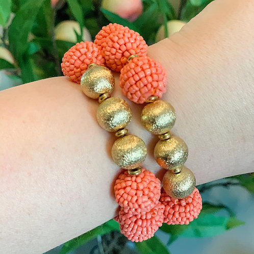 Seed Bead Ball Stretch Bracelet Coral