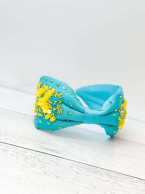 Aqua Embellished Fabric Headband by Prep Obsessed