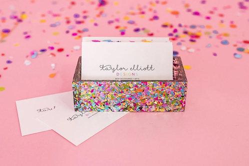 Confetti Acrylic Business Card Holder by Taylor Elliott Designs