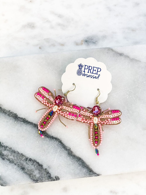 Beaded Dragonfly Statement Earrings by Prep Obsessed