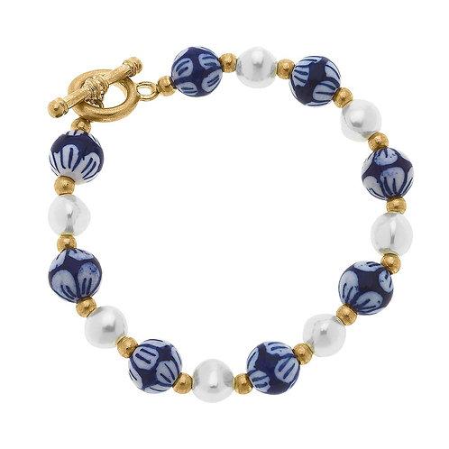 Charlotte Chinoiserie & Pearl T-Bar Bracelet in Blue & White
