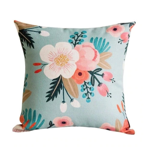Light Blue Floral Pillow Cover