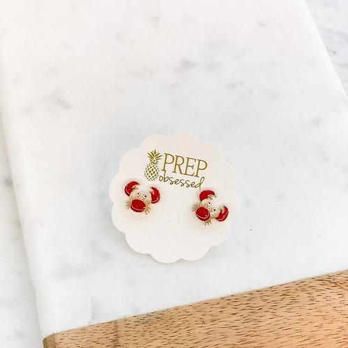 Crab Enamel Stud Earrings by Prep Obsessed