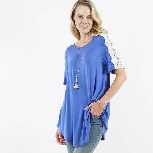 Flower Crochet Tunic in Cornflower Blue