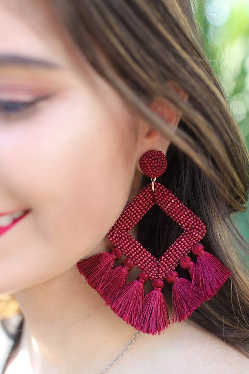 Ellie Fringe Drop Earrings in Wine