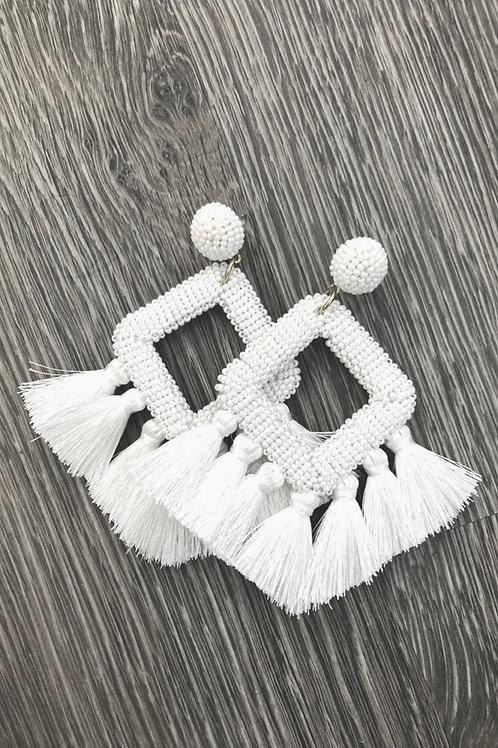 Ellie Fringe Drop Earrings in White