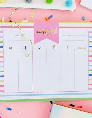 Striped Weekly List Pad Planner by Taylor Elliott Designs