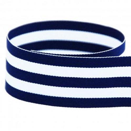 Preppy Striped Grosgrain Ribbon in Navy