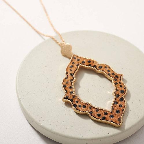 Cheetah Print Calf Hair Pendant Long Necklace