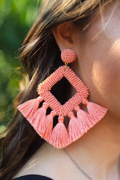 Ellie Fringe Drop Earrings Peach