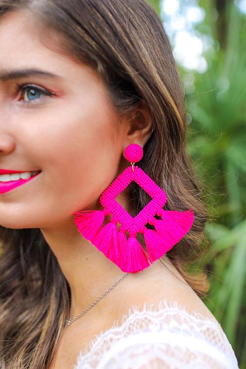 Ellie Fringe Drop Earrings in Pink